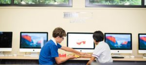 Students sitting at Hillbrook computer
