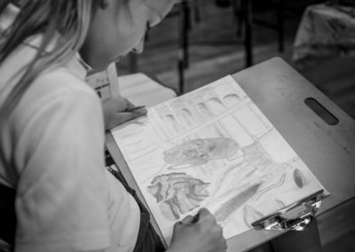 Sketching in Hillbrook Art classes