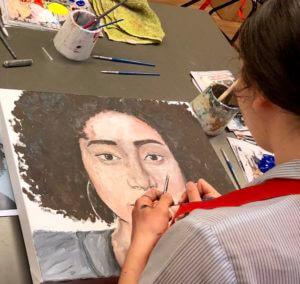 Portrait painting at Hillbrook art classes
