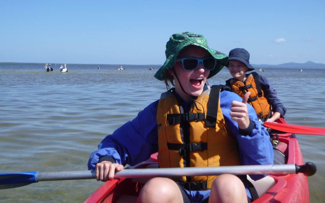 Students kayaking in outdoor education